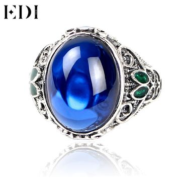 EDI Vintage 10ct Sapphire Rings 925 Silver Classic Ring Cloisonne Blue Corundum Jade Jewelry Filigree Retro Boule Ring For Women