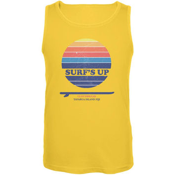 Surf's Up Cloudbreak Beach Yellow Adult Tank Top
