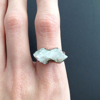 Quartz Druzy Ring - Statement Ring - Unique Ring - Copper Ring - Semiprecious Stone Ring - SIZE 7.5