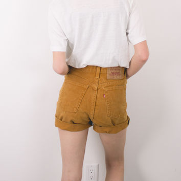 Vintage (SMALL) Rust Levis High Waisted Denim Shorts