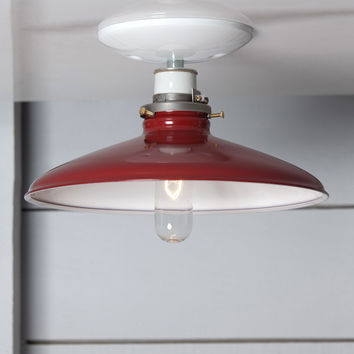 Industrial Metal Shade Light - 10in Red Shade Lamp - Semi Flush Mount