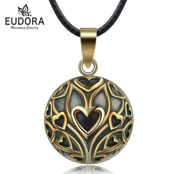Eudora Copper Vintage Heart Tree Mexican Harmony Bola Ball  Pendant Necklace for Pregnancy Baby Vintage fine Jewelry N14NB327
