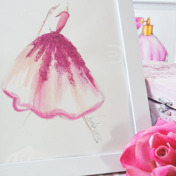 Fahion illustration, Art Print, from original, Ballerina,Watercolor Painting