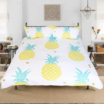 Pineapple Bedding Set Sweet Printed Fruit Bedsheet Soft Microfiber Duvet Cover Set 3 Pcs 4 Sizes