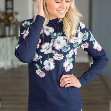 PEAPVA6 Marlston Hooded Sweatshirt- Navy Floral