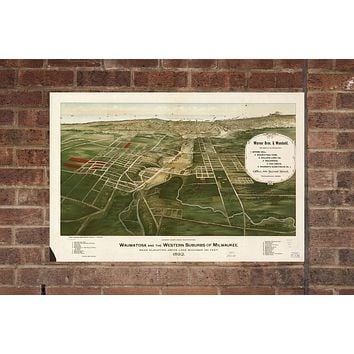 Vintage Wauwatosa Print, Aerial Wauwatosa Photo, Vintage Wauwatosa WI Pic, Old Wauwatosa Photo, Wauwatosa Wisconsin Poster, 1892
