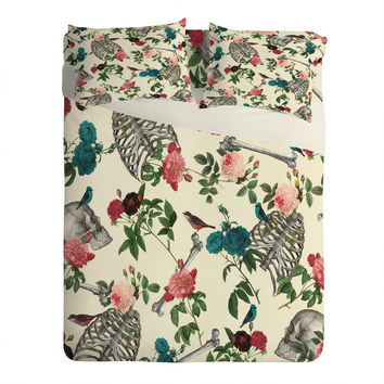 Belle13 Skulls Birds And Roses Sheet Set Lightweight