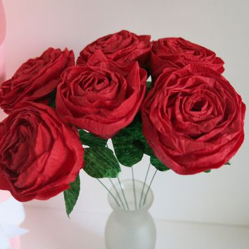 Half Dozen Red Crepe Paper Roses, Wrapped For Gift Giving, Flowers by Mail Delivery, Valentine's Day Love