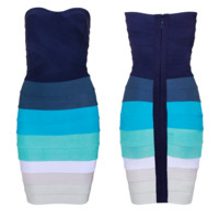 Navy Blue Sky Seafoam Teal White Gray Multi Color Strapless Bodycon Bandage Dress