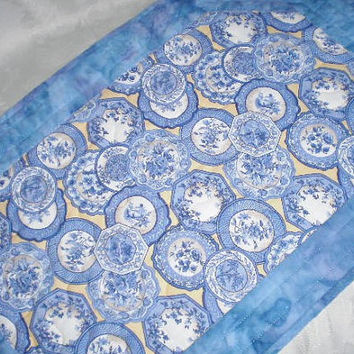 Quilted Table Runner Blue Yellow Handmade Reversible Table Topper Batik