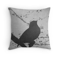 Bird on Branch Photo Pillow Cover, Pop Art Pillow, Black White Gray, Gardening Gift, Bird Lover, For Her, Gift Ideas, Nature Lover