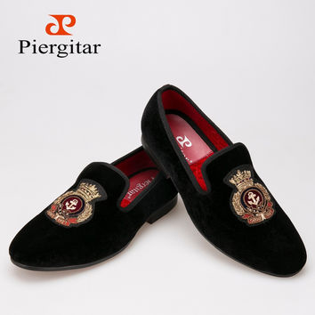 Piergitar New style Velvet men shoes with Hand stitch Bullion embroidery Loafers Size US 6-13 Free shipping