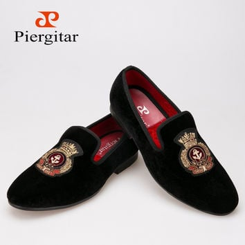 PiergitarVelvet men shoes with Hand stitch Bullion embroidery Loafers -Free shipping