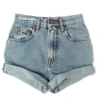 """ALL SIZES """"TURN"""" Vintage Levi high-waisted denim shorts blue cuffed rolled turn up jeans"""