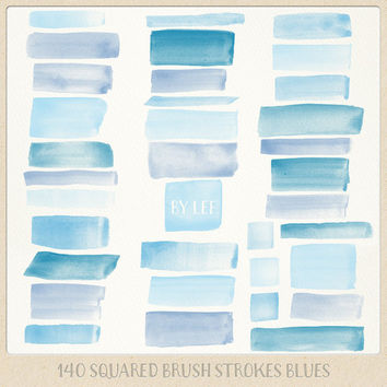 Watercolor clipart strokes squared (140 pc) blue, light blue, navy. hand painted overlays for logo design blogs cards printables wall art