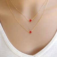 Shiny Gift Jewelry New Arrival Stylish Red Crystal Set Necklace [7495433287]
