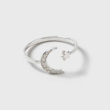 Sterling Silver CZ Moon Split Ring | Topshop