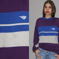 1980s Vintage Pony Purple and Blue Colorblock Sweatshirt – Vanguard Vintage Clothing