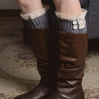 Lace Boot Cuffs with Two Buttons