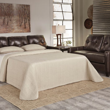 Okean collection mahogany colored leather match upholstered queen sleeper sofa with squared arms