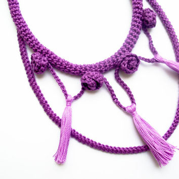 FREE SHIPPING, Tassel necklace, Boho necklace, Two strand rope necklace, Crochet rope necklace, Violet, Lilac