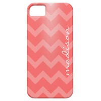 Modern phone, white chevron zigzag on pink, w name iPhone 5 cases