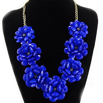 Navy Blue Golden Plated Chain 7 Flowers Fashion Necklace