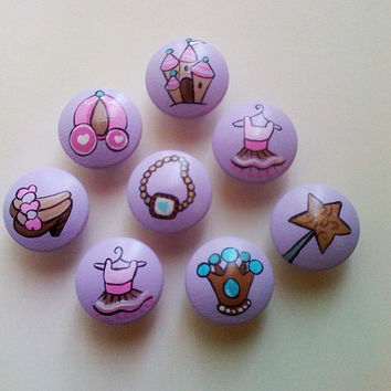 Hand Painted Lavender Princess Drawer Pulls / Dresser Knobs for Girls / Nursery Rooms