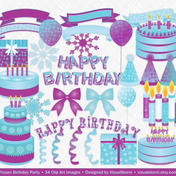 Frozen Birthday Clip Art, cakes, bows, snowflakes, candles, balloons, present, banners, letters, ribbon, hats, blue/purple, Buy 2 Get 1 Free