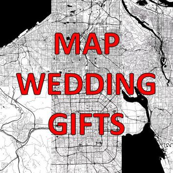 Wedding Gift, Wedding Anniversary, Gift For Bride, Bridal Gift Ideas, Wedding Gifts For Couple, For Parents, Wedding Sign, Wedding Map