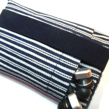 iphone 5 fabric  Case / iphone 4 Sleeve / ipod Touch / French Blue Stripe / Gadget