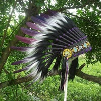 "Purple Indian Headdress for kid/head circumference up to 55cm/21.5"", Native American Warbonnet, Chief Indian, edc, Tee pee party, pow wow"