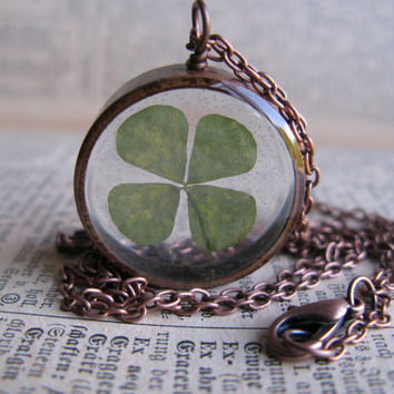 Lucky 4 Leaf Clover Pendant - Real 4 leaf clover encased in resin with clear copper bezel
