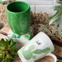 Cactus ceramic mug water cup drinkware