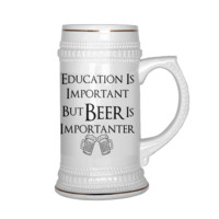 Education Is Important But Beer Is Importanter, Funny Beer Stein Mug, Gift for Birthday, Gift for Men, Dad, Mom, Grandpa, Husband, Him, Friend