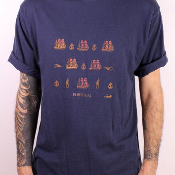Vintage 90s - Dark Navy Blue Nautical Ships & Anchors Portugal Souvenir Novelty Tee T Shirt Mens Womens Unisex