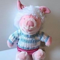 PIGLET IN BLUE AND WHITE WINTER SWEATER Stuffed Plush Collectible Disney Store