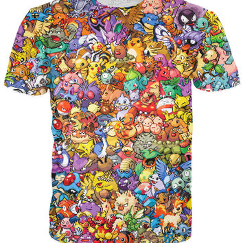 Original 150 Pokemon 8-Bit Collage T-Shirt