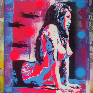 Asian nude with tattoos custom painting,planet asia,pinks,blue,stencil art,graffiti art,urban art,canvas,home,living,wall art,abstract,pop