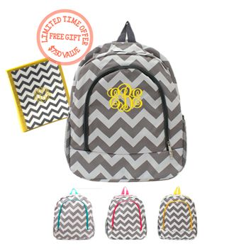 Personalized Grey / White Chevron Print Backpack w/ Free Binder Insert
