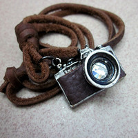 Adjustable Brown Leather Necklace alloy pendant  Men's Necklace Cool Necklace N4