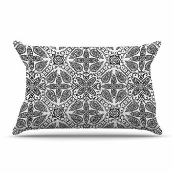 "Nandita Singh ""Boho In Black And White"" Grey Pattern Pillow Sham"