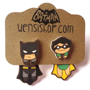 The Dark Knight and Boy Wonder(Batman Inspired) Cling Earrings
