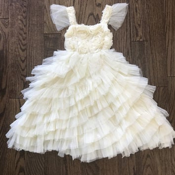 "The ""Valentina"" Rosette Pale Yellow Long Length Dress"
