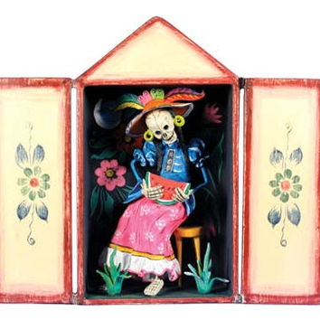 Skeleton Eating Watermelon Day of the Dead Retablo