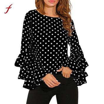 2017 Hot Fashion Women's T-shirts Bell Sleeve Loose Polka Dot Tee Shirt Ladies Casual Tops Unicorn T-shirts for Women Harajuku