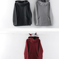 YESSTYLE: RINA- Horn-Accent Hooded Pullover - Free International Shipping on orders over $150