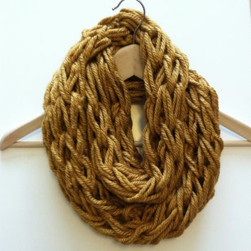 Gold Arm Knit Scarf, Chunky Infinity Scarf, Gold Infinity Scarf, Arm Knit Infinity Scarf, Winter Scarf, Autumn Yellow Scarf