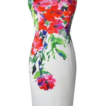 Streetstyle  Casual Round Neck Slit Bodycon Dress In Floral Printed