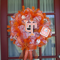 Tennessee Volunteers Fan White and Orange Deco Mesh Door Wreath